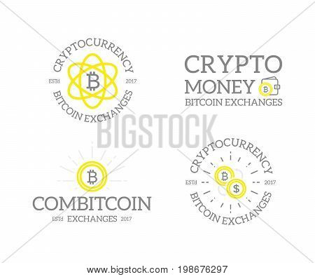 Unique retro vintage digital money and bitcoin, cryptocurrency logos or insignias, emblems, labels and badges and other branding objects. Vector line style