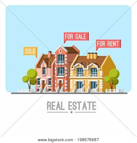 Business concept with houses. Real estate. Traditional architecture. Flat vector illustration 3d style.