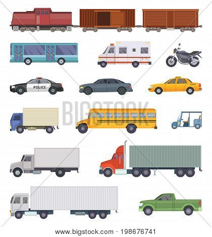 Vector illustration of automobile, trucks and motorcycles isolate on white. Transport vehicle, automobile and motorcycle