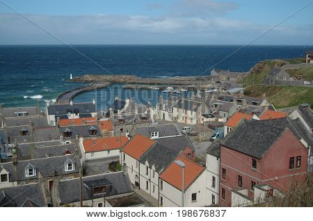 Cullen town on the Moray Coast - rooftops and harbour