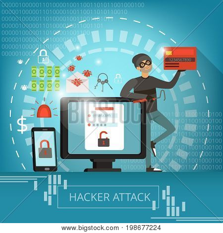 Concept illustration of computer crime and hacker mascot. Vector pictures computer and malware, mail trojan and robber hacker