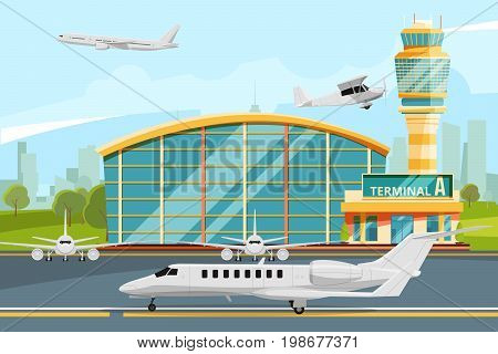 Modern building of airport terminal with control tower. Runway with planes. Airplane on runway, building airport terminal. Vector illustration