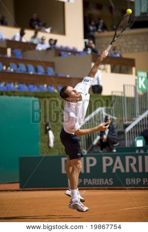 MONTE CARLO MONACO APRIL 21, Juan Carlos Ferrero ESP v Michael Llodra FRA competing in the ATP Masters tournament in Monte Carlo, Monaco, 19-27 April 2008