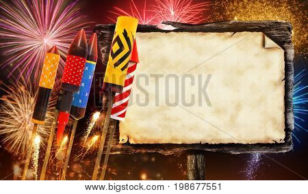 Group view of fireworks rockets launching into the sky. Wooden blank board for copyspace. Concept of celebration and New Years Eve. 3D render of rockets.
