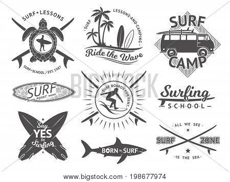 Vector elements for labels or badges. Surfing, hawaii surfboard and sea. Monochrome illustration set. Surfer monochrome emblem of set