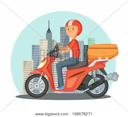 Fast delivery concept illustration. Urban landscape with modern buildings and motor bike or scooter. Motor delivery service vector