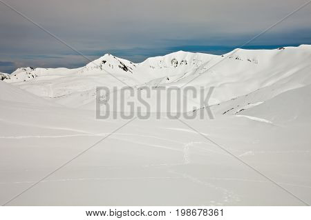 The mountains of Kamchatka and the traces from the clutches of a Kamchatka brown bear in fresh spring snow Russia