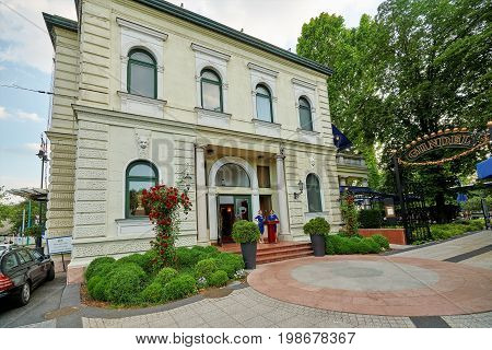 BUDAPEST HUNGARY - JUNE 3 2017: Gundel Restaurant is a luxurious restaurant with framed artwork famous gourmet Hungarian dishes and live Hungarian music. The scrumptious Gundel crepe originates here.