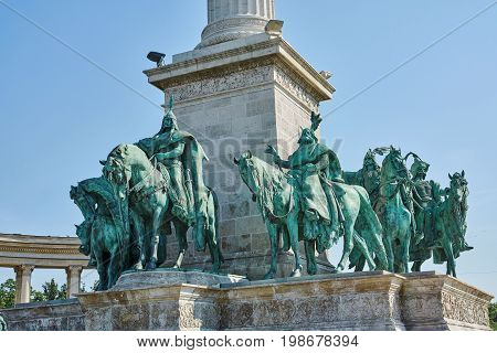 Heroes Square in Budapest the Millennium Memorial partial view of the seven chieftains of the Magyars.