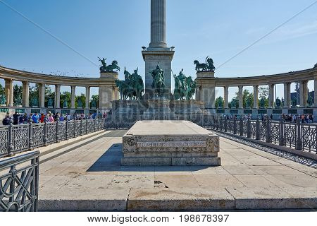 Heroes Square in Budapest the Millennium Memorial cenotaph dedicated