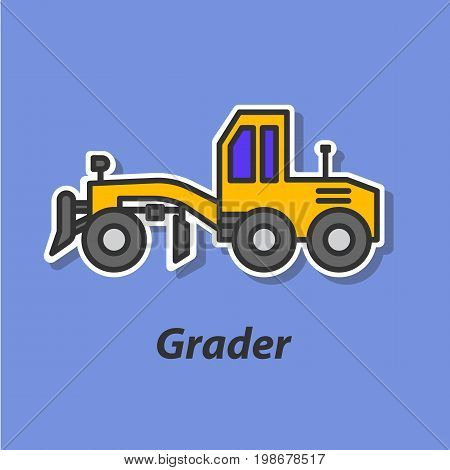 Grader color flat icon. This is the vector icon for websites and electronic applications. This icon have a size of 48 by 48 pixels. Also you can edit the size of the icon in the graphical editor.