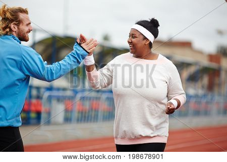 Receiving high five from coach