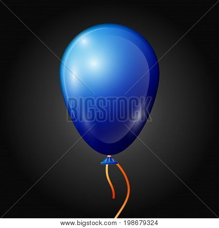 Realistic blue balloon with ribbon isolated on black background. Vector illustration of shiny colorful glossy balloon