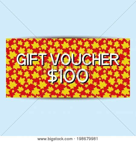 Red gift voucher with yellow maple leaves.