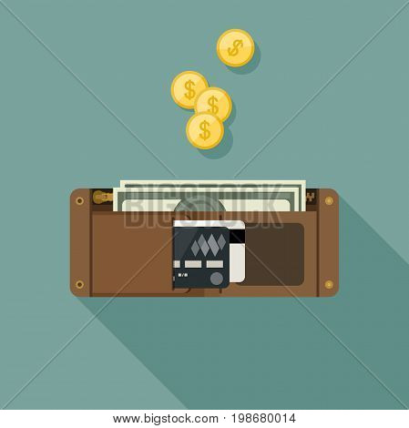 Wallet with money in flat style. Purse vector simple illustration.