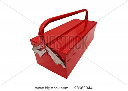 red metallic closed iconic toolbox on white background