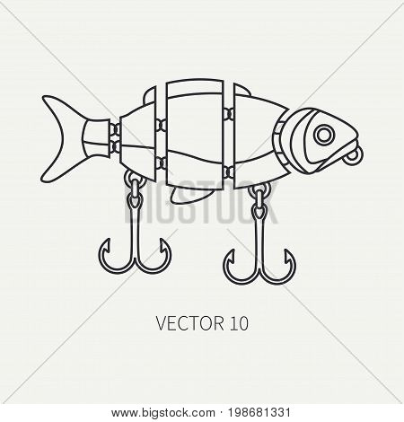 Line flat vector fisher and camping icon fishing hook, baubles, wobbler. Fisherman equipment. Retro cartoon style. Holiday travel. Spinning. Lake. Boat. Illustration element for your design, wallpaper