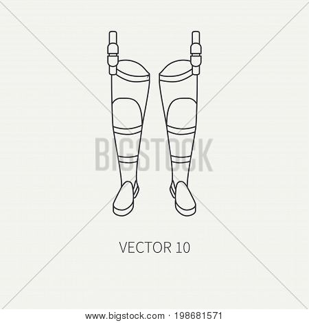 Line flat vector fisher and camping icon fishing boots. Fisherman equipment. Retro cartoon style. Holiday travel. Spinning. Lake. Boat. Catch. Nature. Illustration element for your design, wallpaper.