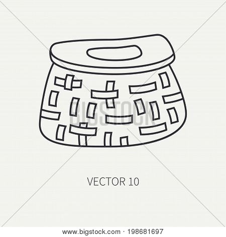 Line flat vector fisher and camping icon fishing cage. Fisherman equipment. Retro cartoon style. Holiday travel. Spinning. Lake. Boat. Catch. Nature. Illustration element for your design and wallpaper