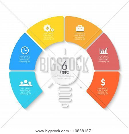 Light bulb business infographic. Template for presentation, diagram, graph. Vector illustration with 6 element, step, option.