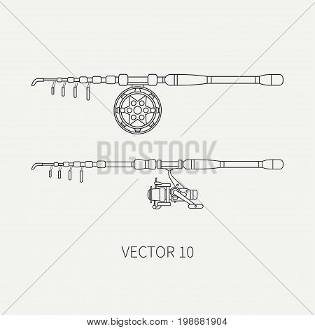 Line flat vector fisher and camping icon fishing rod with reel. Fisherman equipment. Retro cartoon style. Holiday travel. Spinning. Lake. Boat. Catch. Illustration element for your design, wallpaper.
