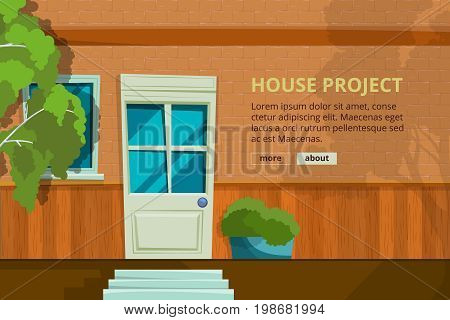Exterior with door front view. Architectural vector background with place for your text. Banner exterior house architecture facade illustration