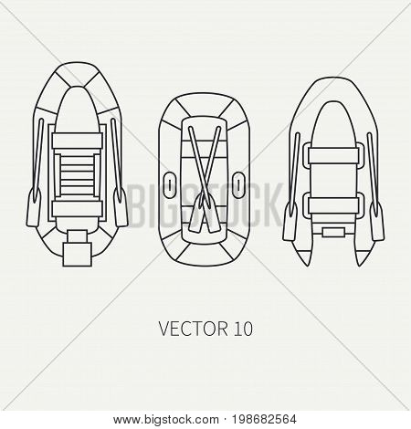 Line flat vector fisher and camping icon inflatable rubber boat. Fisherman equipment. Retro cartoon style. Holiday travel. Spinning. Lake. Oars. Catch. Illustration element for your design, wallpaper.