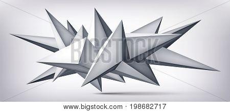 Volume geometric shape, 3d levitation crystal, creative low polygons object, vector design origami form