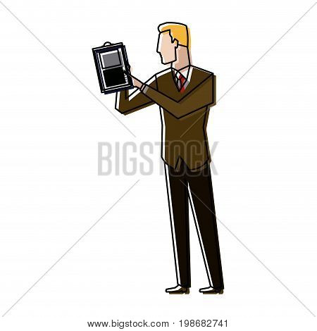 businessman holding a clipboard and analysing the data financial