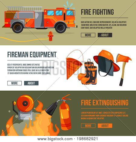 Horizontal banners set of fireman tools pictures. Firefighter in big flame. Vector illustrations with place for your text. Fire extinguishing and fire equipment