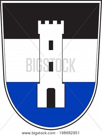 Coat of arms of Neu-Ulm is the capital of the Neu-Ulm district and a town in Swabia Bavaria of Germany. Vector illustration