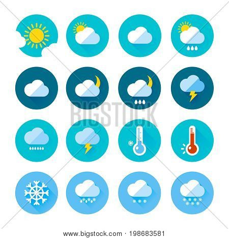 Colored weather icons in flat style. Different visualization of climate. Rainy and sunny days. Rain and sun symbol, vector climate temperature illustration