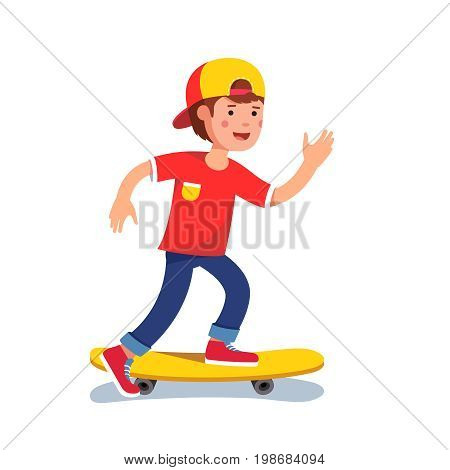 Teen boy in baseball cap riding on skateboard. Kid accelerating doing leg pushing. Young hipster skateboarder in keds. Flat style character vector illustration isolated on white background.
