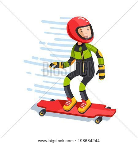 Teen kid pro downhill longboard rider in protective gear riding fast. Longboarding wearing helmet, jumpsuit, pads, slide gloves. Flat style character vector illustration isolated on white background.