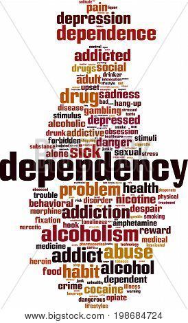Dependency word cloud concept. Vector illustration on white