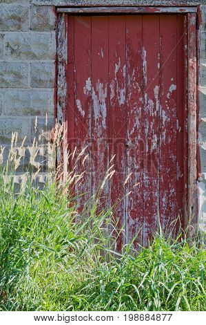 old red Weathered and peeling Barn Door