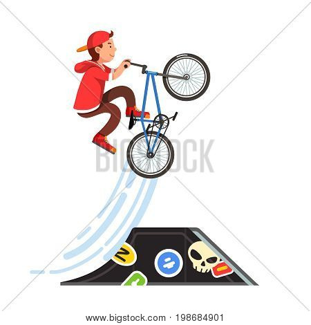 Teen kid doing stunt jump from skate park quarter pipe ramp on a bmx bike. Boy riding extreme sport bicycle in hoodie and cap. Flat style character vector illustration isolated on white background.