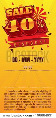 sale. discount up to 40% off. vector illustration. Sale banner