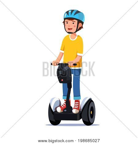 Teenager boy riding a standing modern and futuristic self-balancing electric gyro scooter with handlebar. Kid enjoying ride. Flat style vector illustration isolated on white background.