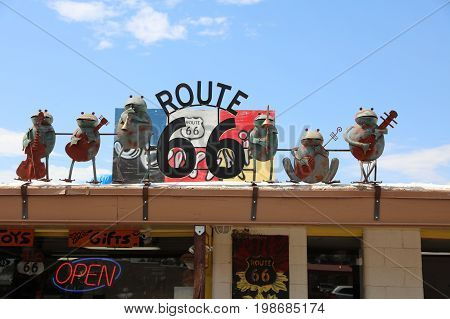 Seligman, USA - July 7, 2017: Decorations in the city of Seligman in Arizona at the historic Rooute 66 on July 7, 2017. The historic route 66 is now Freeway 40.