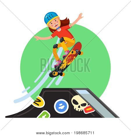 Teen kid doing stunt jump from skate park pipe ramp on skateboard. Extreme sport boy riding board wearing safety helmet, kneepads. Flat style character vector illustration isolated on white background
