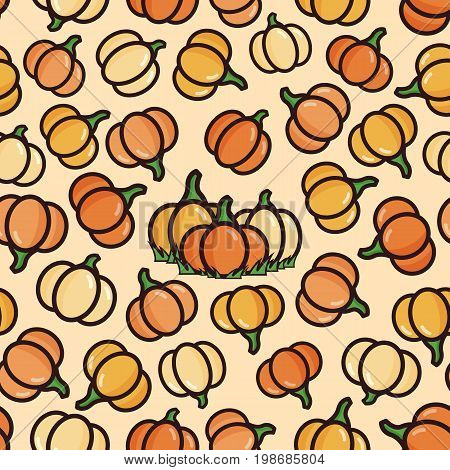 Vector seamless pattern with yellow and orange pumpkins. Autumn crop in flat style.