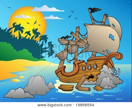 Seascape with shipwreck and rocks - vector illustration.