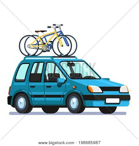 Modern station wagon car with two bicycles mounted on the roof rack. Flat style vector illustration isolated on white background.