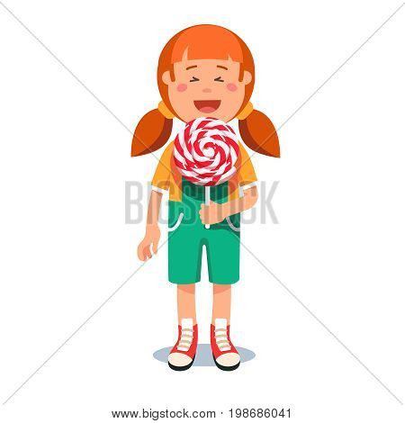Cute little girl standing with big swirly lollipop. Kid eating unhealthy sugar candy. Flat style vector illustration isolated on white background.