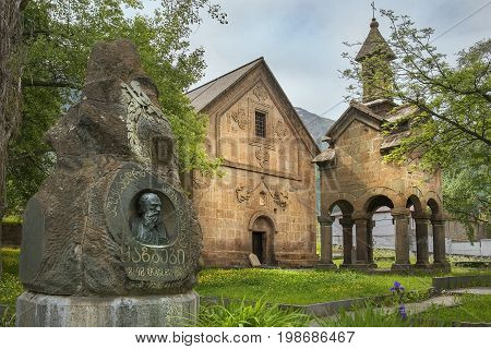 Village of Stepantsminda, Georgia - 2017 June 16: monument on the grave of Alexander Kazbegi and Stepantsminda historical museum, located in Khevi in the childhood home of writer Alexander Kazbegi