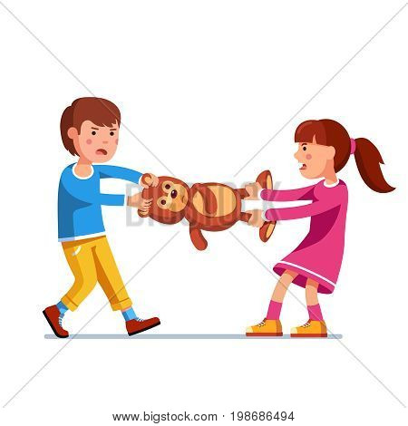 Kids girl and boy brother and sister fighting over a toy. Tearing teddy bear apart pulling it holding legs and head. Flat style character vector illustration isolated on white background.