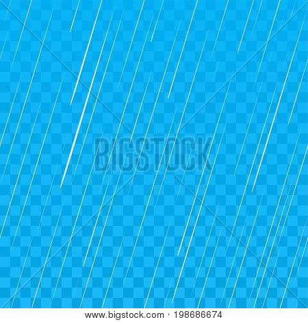 Heavy rain on blue transparent background. Seamless vector illustration