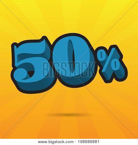 Font up to 50% off. vector illustration. Sale banner