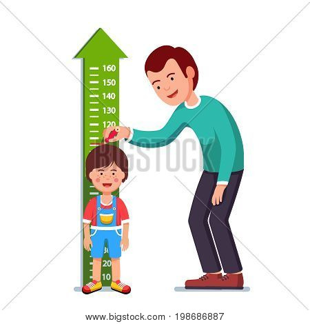 Kindergarten teacher or father measuring boy kid height with painted graduations on the wall arrow. Flat style character vector illustration isolated on white background.